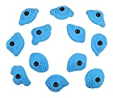 Atomik Rock Climbing Holds Set of 12 Bolt-On Steep Wall Brain Coral Crimps in Blue