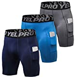 Shengwan 3 Piezas Pantalones Cortos de Compresión Hombre Térmicos Correr Gimnasio Mallas Cortos con Bolsillo Armada + Azul + Gris S