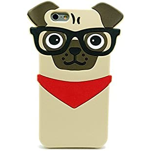 Customer reviews Iphone 7 Plus Case, Iphone 8 Plus Case, 3D Cute Cartoon Hipster Pug Dog Silicone Case for Iphone 7 Plus Iphone 8 Plus 5.5inch Pet Doggy Fashion Protective Cell Phone Cover Boys Girls:Elektrikmalzemeleri