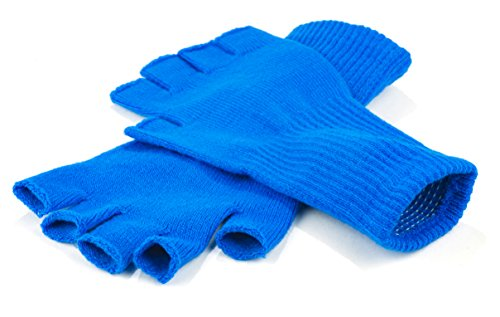 Funny Guy Mugs Warm Stretchy Knit Fingerless Gloves for Women and Men, Blue, One Size Fits Most