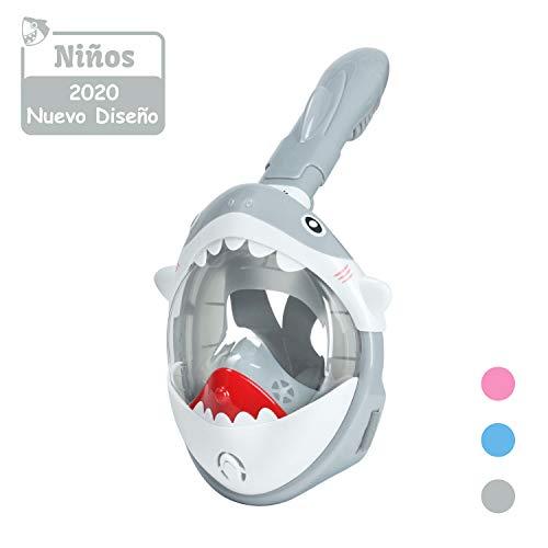 Glymnis Máscara de Buceo Máscara de Buceo para Niños Máscara Snorkel Gafas Cara Completa Máscara Easybreath 180° Amplio Vista Antivaho