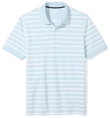 Amazon Essentials Men's Slim-Fit Cotton Pique Polo Shirt, Light Blue Stripe, Large
