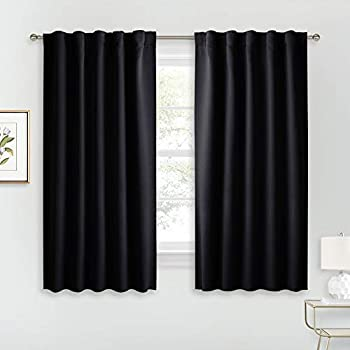RYB HOME Blackout Curtains Pair - Solid Country Curtains Window Decorating Panels Light Block Drapes for Bedroom Kitchen Office Privacy Curtains for Gift Wide 42 x Long 54 inch Black Set of 2