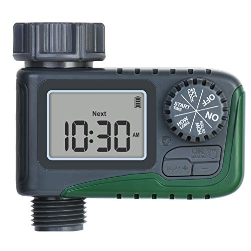 Moistenland Sprinkler Timer Outdoor, Water Timers with 3 Modes - Automatic Watering/Rain Delay/Manual Watering, Digital Garden Irrigation Timer IP65 Waterproof, Hose Timer for Garden Lawns Plants