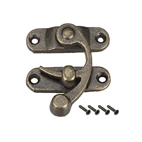 sourcing map 5Stk.Antik rechter Riegel Haken HASP beschichtet Bronze mit Schraube (42mmx36mm) DE de