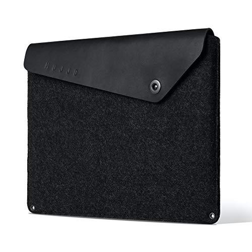 Mujjo Sleeve for new MacBook Pro 16-inch, 15' MacBook Pro (4th Gen) | Anti-Peel Felt, Vegetable Tanned Leather Flap, Storage, Card Pocket (Black)