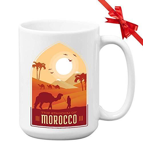 N\A Taza Marruecos Marruecos 11OZ - El Reino de Marruecos Camel Sahara Desert - Souvenir Turístico Regalo de Viaje para Viajero Amigo África Árabe
