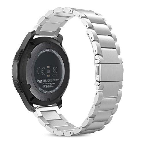 MoKo Gear S3 Cinturino, Braccialetto di Acciaio Inossidabile per Samsung Gear S3 Frontier / S3 Classic/Moto 360 2nd Gen 46mm Smartwatch, Argento (Non per S2 & S2 Classic & Fit2)