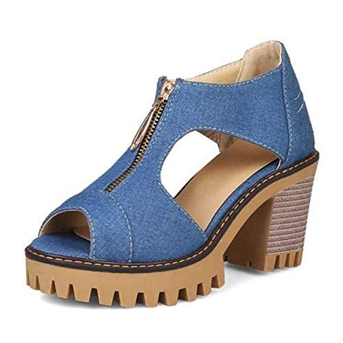 Sandalias de tacón cuadrado, de moda, con plataforma, con cremallera, para fiestas, citas, verano, club, zapatos, Azul (Azul oscuro), 38 EU