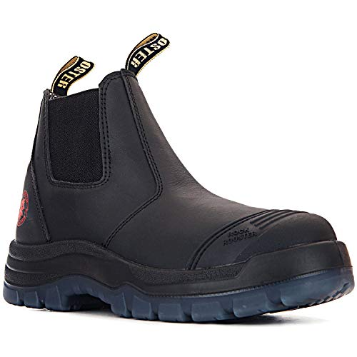 ROCKROOSTER Work Boots for Men,6 inch Steel Toe Chelsea Boot,Non Slip,Breathable,Comfort(AK227 10)