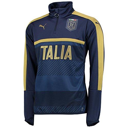 Puma Herren Fussball Italien Tribute 2006 1/4 Zip Training Sweatshirt Shirt Blau - S