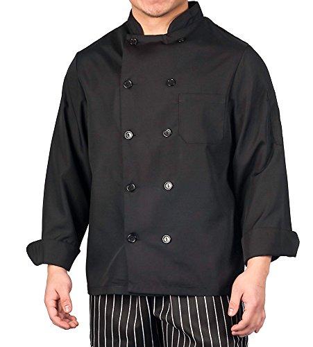 KNG Black Lightweight Long Sleeve Chef Coat ,Large