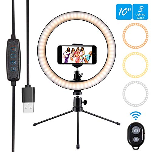 10' Ring Light Selfie Light Ring with Tripod Stand & Cell Phone Holder and Remote Control 3000-5500K 120 Bulbs Dimmable Beauty Desktop Ringlight for YouTube Video/Live Stream/Makeup/Photography