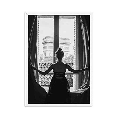 liwendi Schwarz-Weiß-Fenster Mädchen Ballerina Poster Drucken Ballerina Wandbild Wohnzimmer Bild Nordischen Stil 50X70Cm Rahmenlose Bild A