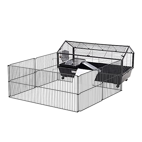 PawHut Small Animal Cage with Main House and Run for Rabbit, Guinea Pig, Hamster Indoor and Outdoor, 35' L