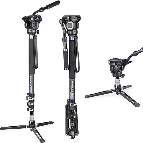 Carbon Fiber Video Monopod Kit-VM70CK Professional Hydraulic Fluid Head Monopod Removeable Multifunctional Travel Tripod Stand for Gopro DSLR Camera Telescopic Camcorders, Max Load 22 pounds/10 kg