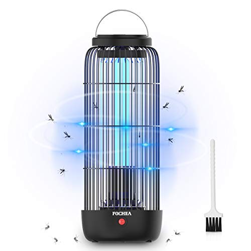 FOCHEA Zanzariera Elettrica, 12W 60m² UV Lampada Antizanzare Elettrico con Luce UV e Cassetto Raccogli, Lampada Zanzare da Esterno e Interno Silenziosa per Casa Giardino (Nero)