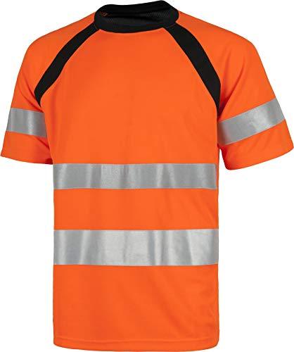 Work Team Camiseta Manga Corta Combinada con Alta Visibilidad. Cintas Reflectantes. EN ISO 20471:2013. Hombre Naranja A.V.+ Negro XXL