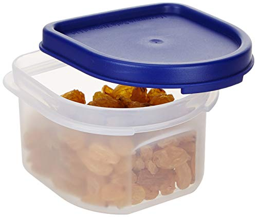 Amazon Brand - Solimo Modular Plastic Storage Containers with Lid, Set of 8 (250ml each), Blue