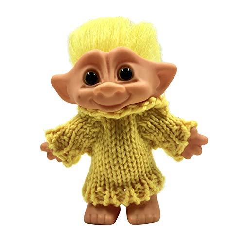 sharprepublic ラブリータイニーグッドラックトロールドールカラーヘアミニドールアイオンフィギュアおもちゃ - 黄色い髪