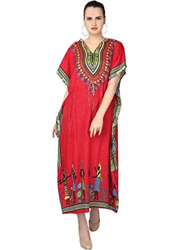 SKAVIJ Damen Tunika Maxi Kaftan Nachthemd für den Abend (freie Größe, rot)
