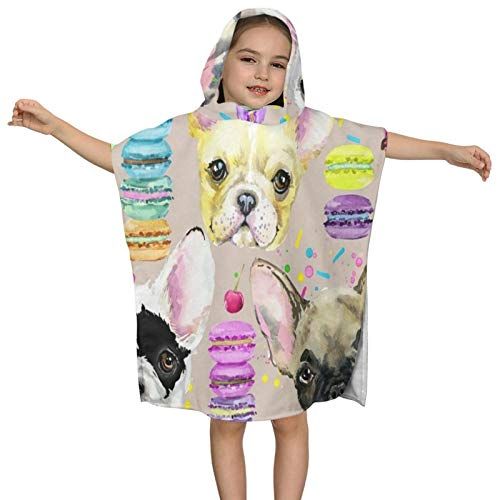 ACVACV Hooded Bath Towels for Kids Girls Boys Watercolor French Bulldog Puppy Dog Microfiber Soft Bathroom Towel Wrap Baby Toddler Beach Pool Swim Bathing Towels Absorbent Bathrobes Cover Up Cape