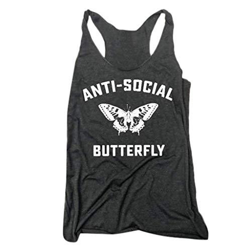 iNoDoZ Women's Casual Summer Tank Top Anti-Social Butterfly Letter Print Vest Sport & Fitness Black