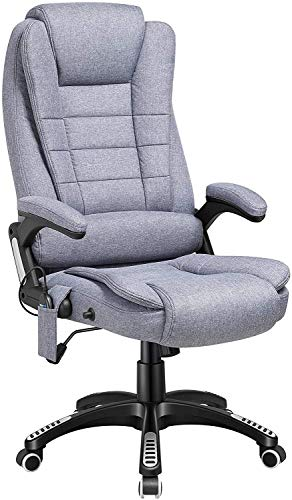 ORAF Ergonomic Massage Office Chair with Heat, Linen Fabric High Back Executive Vibrating Chair with Comfort Lumbar Support Padded Armrest, Adjustable Tile Angle Reclining Swivel Desk Chair, Grey
