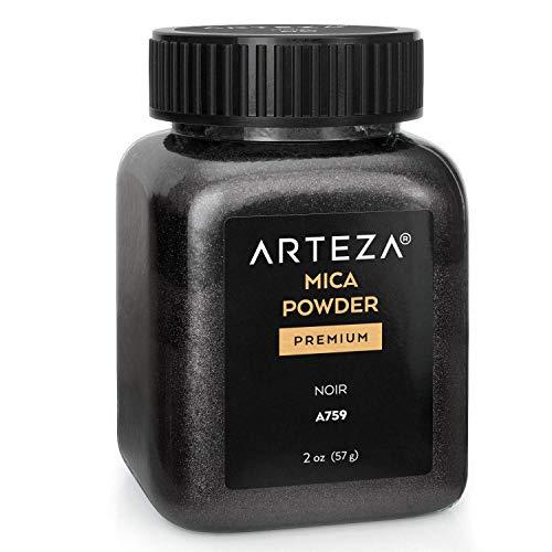 Arteza Mica Pulver Schwarz A759, Epoxidharz Farbe Pulver, 57g Flasche, Glimmerpulver in kosmetischer Qualität zur Herstellung von Seife, Nagellack, Badebomben, Kerzen und Schleim