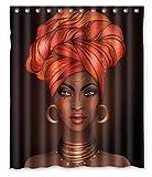 COMPY Duschvorhang Afroamerikaner Hübsches Mädchen Raster Schwarze Frau Glossy Lips Turban, Rot, 180X180cm
