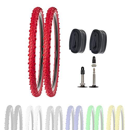 P4B | 2 neumáticos de bicicleta de 26 pulgadas 50-559 con cámaras SV en color rojo | 26 x 1,95 | buen agarre en caminos de campo y terreno suelto gracias a los tacos exteriores e interiores.