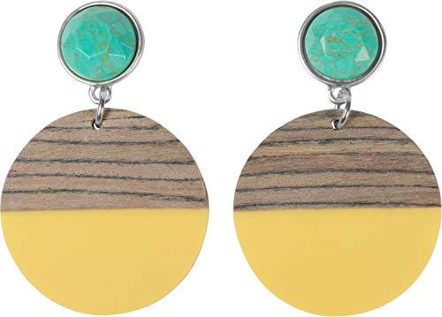 styleBREAKER Damen Statement Ohrringe mit 2-farbigem Holz, türkisem Stein und Stecker, Ohrhänger, Ohrschmuck 05090030, Farbe:Gelb