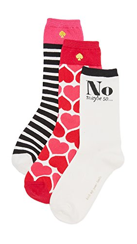 Kate Spade New York Women's Hearts 3 Pack Sock Set, Posey Red, One Size