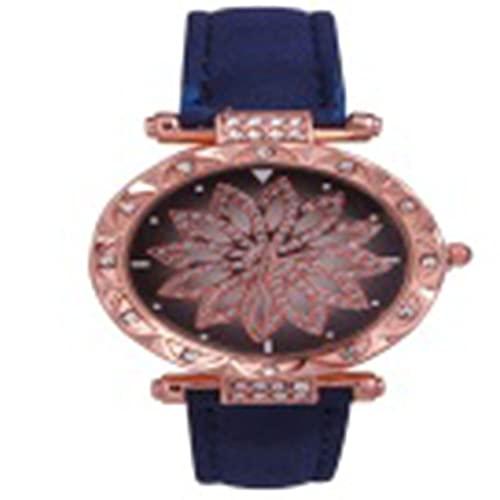 QiKun-Home Reloj para Correr Cuando Diamantes completos Tendencia de la Moda Impermeable Reloj Simple para Mujer Estudiante Ins Viento Impermeable Azul