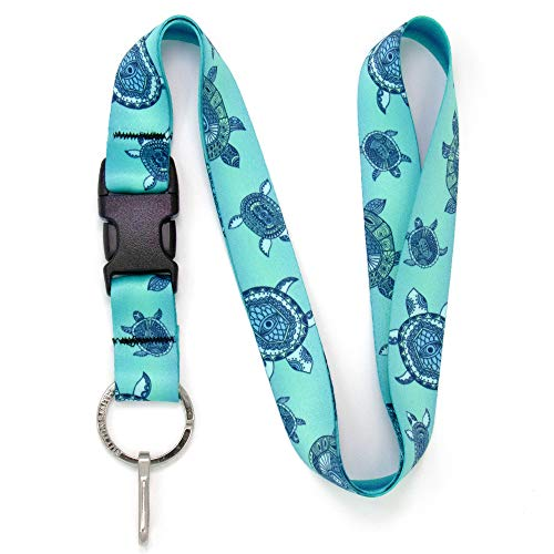Buttonsmith Turtles Premium Lanyard - with Buckle and Flat Ring - Made in The USA
