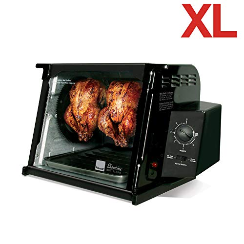 Ronco Showtime Rotisserie Oven (1250 Watts), 4000 Series with 15 Pound Capacity, Fully Accessorized, Specialized Heating Element and Precision Rotating, Self-Basting Functionality, Automatic Shut-Off Timer, Easy Clean Detachable Glass Door