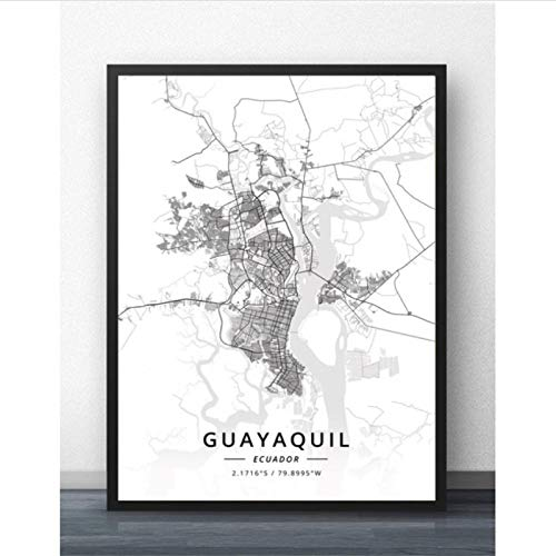 Cuadro En Lienzo, Cartel De Arte De Pared con Mapa De La Ciudad De Guayaquil Quito Ecuador, Mural para Sala De Estar Y Dormitorio -50X70Cm Sin Bordes,(A395)