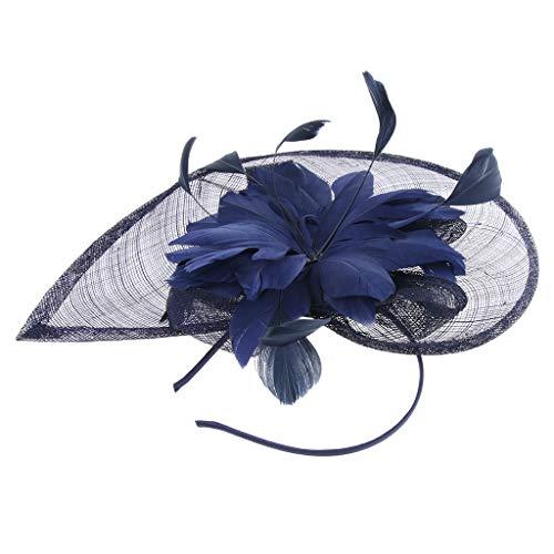 Homyl Chapeau de Mariée Gatsby Petit Chapeau Cocktail Chapeaux - Bleu + foncé