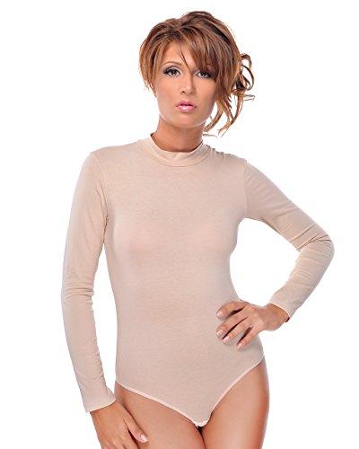 Evoni Langarm-Damenbody in Beige | Overall Bodysuit mit Halbkragen | Verschluß-Haken | Größe S | Ballett Trikot mit Langen Ärmeln | Unterzieh-Body mit optimaler Passform | stilvoller Damen-Body