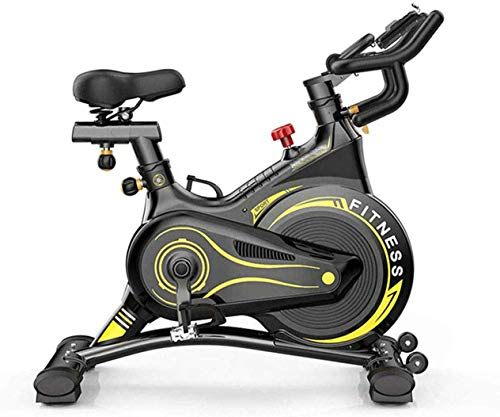 YLJYJ Spin Bike Studio Cycles Exercise Machines Adjustable Handlebars Seat On Board Computer Reads Speed, Distance, Time, Calories + Pulse In(Exercise Bikes)