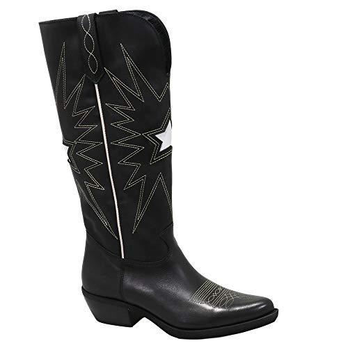 Felmini - Zapatos para Mujer - Enamorarse com EL Paso C385 - Botas Altas Cowboy & Biker - Cuero Genuino - Negro