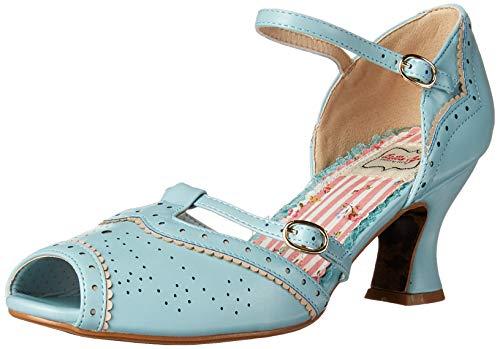 Bettie Page Women's Pinup, Retro, Vintage Heeled Sandal, Blue, 7