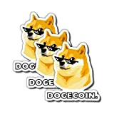 "Tipsy Umbrella 3-Pack Dogecoin Vinyl Stickers ""Doge Meme"" (2' x 2')"