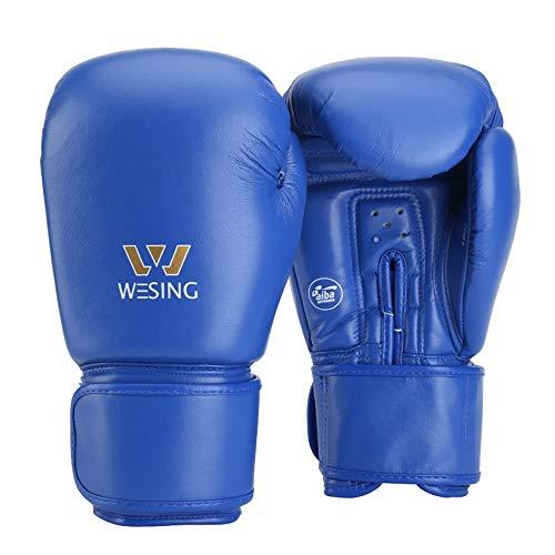 Wesing Boxhandschuhe, Aiba geprüft, Leder - blau - 283,5 g (10 oz)