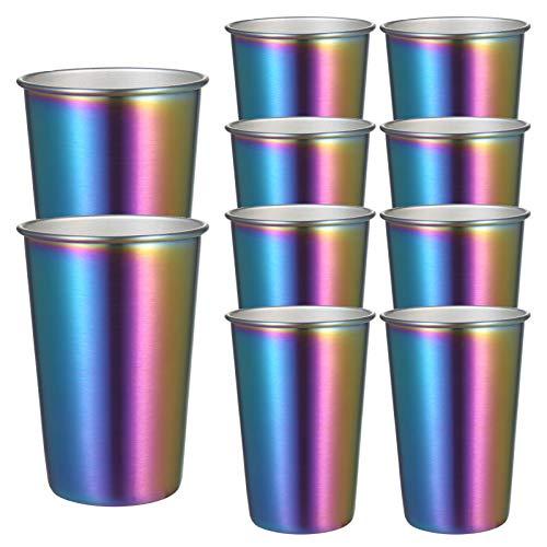Kstyhome Paquete de 10 Tazas de café arcoíris de 500 ml de Acero Inoxidable para Fiestas,Vasos de Metal de Colores,Tazas de Boca Ancha,Resistente al frío y al Calor,irrompible para Uso en Interiores