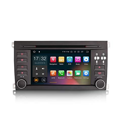 Erisin 7 Zoll Android 9.0 Autoradio für Porsche Cayenne DVD Player mit GPS Navi Unterstützt Bluetooth WiFi 4G DAB+ Lenkradfernbedienung RDS Mirror Link OBD