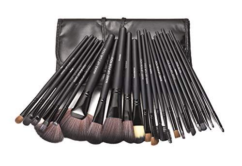 KanCai® 24 piezas pinceles de maquillaje profesional con el juego de manijas de madera - kit de cepillo cosmético con estuche de cuero sintético