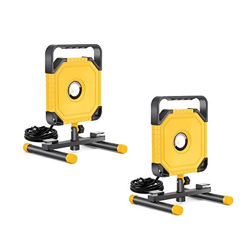 2 Packs UTEC #6335 3500 Lumen 45 Watt LED Portable Work Light with Adjustable Angle Knob and 4.92 Ft/1.49 M 3-Prong Power Cord