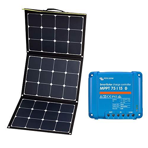 WATTSTUNDE Sunfolder Solartasche - Mobiles 12V Outdoor Solarpanel - faltbares Solarmodul mit Laderegler und Batteriekabel (120W 75/15 MPPT)