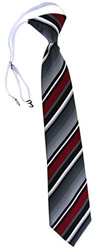 TigerTie Security Sicherheits Krawatte in bordeaux silber grau weiss gestreift - vorgebunden mit Gummizug